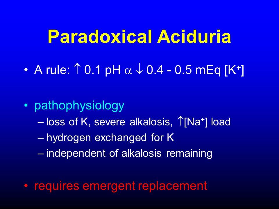 Paradoxical Aciduria A rule:  0.1 pH   0.4 - 0.5 mEq [K+]